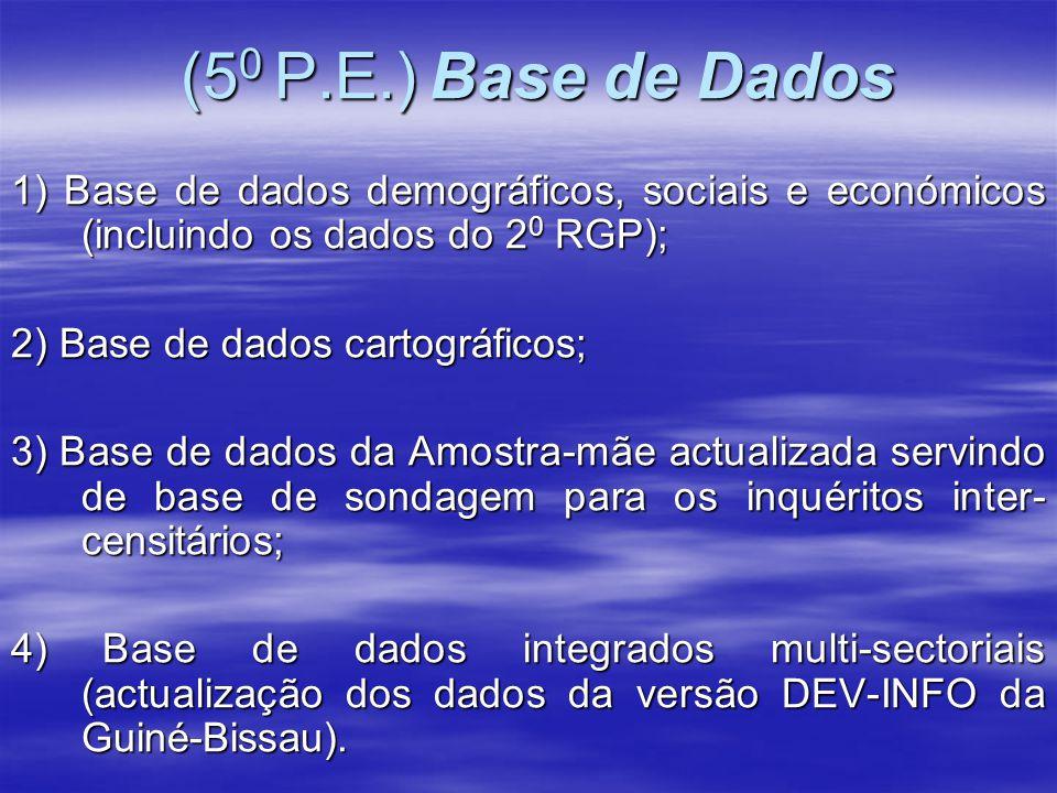 (5 0 P.E.) Base de Dados (5 0 P.E.) Base de Dados 1) Base de dados demográficos, sociais e económicos (incluindo os dados do 2 0 RGP); 2) Base de dado
