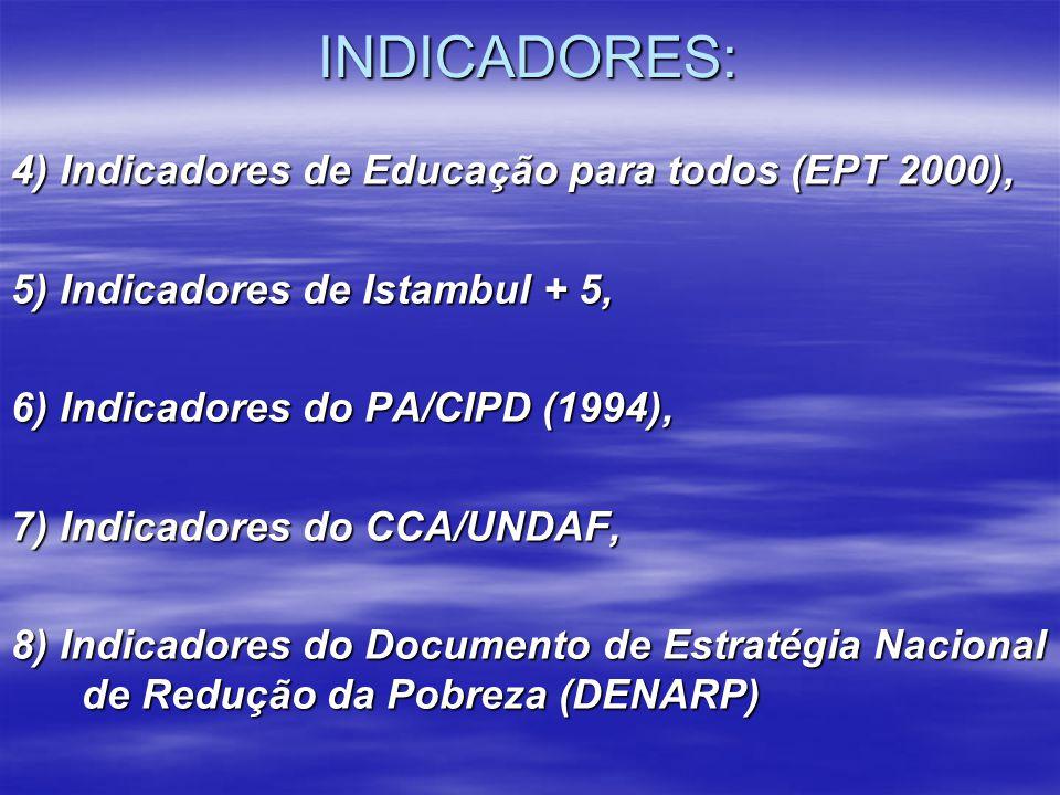 INDICADORES: 4) Indicadores de Educação para todos (EPT 2000), 5) Indicadores de Istambul + 5, 6) Indicadores do PA/CIPD (1994), 7) Indicadores do CCA
