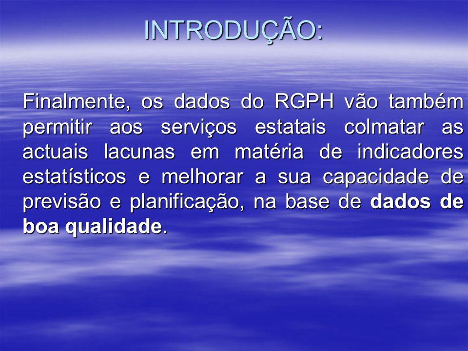 Quadro Institucional: O Decreto-Lei sobre a organização do 3 0 RGPH, foi promulgado em 27/05/06.
