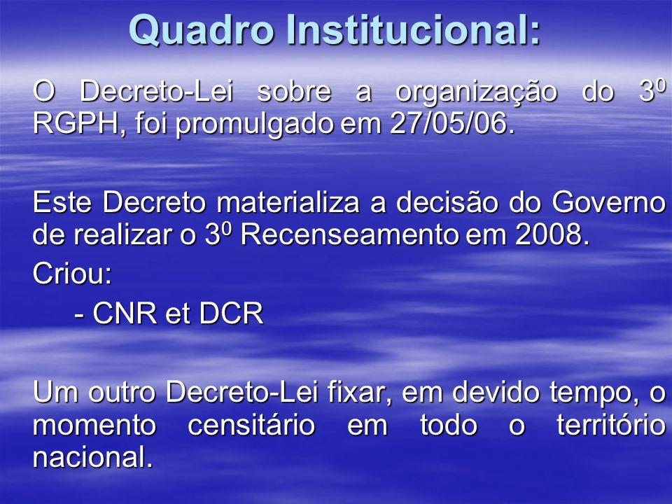 Principais fases do RGPH/2008 1) - Actividades preparatórias 2) - Cartografia censitária 3) - Recenseamento piloto 4) - Recenseamento geral 5) - Inquérito pós-censitário 6) - Tratamento dos dados 7) - Análise dos dados 8) - Publicação 9) - Disseminação dos resultados.