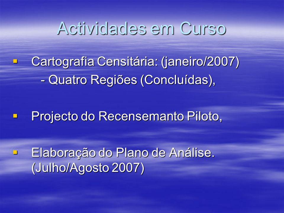 Actividades em Curso Cartografia Censitária: (janeiro/2007) Cartografia Censitária: (janeiro/2007) - Quatro Regiões (Concluídas), Projecto do Recensem