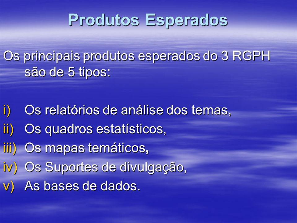 Produtos Esperados Os principais produtos esperados do 3 RGPH são de 5 tipos: i)Os relatórios de análise dos temas, ii)Os quadros estatísticos, iii)Os