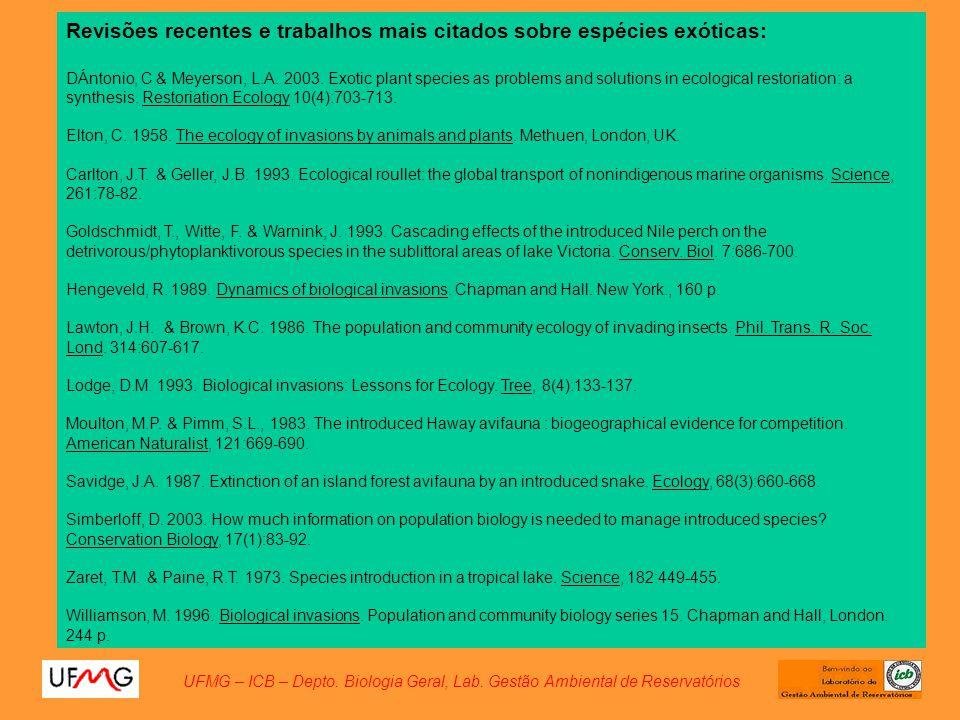 Revisões recentes e trabalhos mais citados sobre espécies exóticas: DÁntonio, C & Meyerson, L.A. 2003. Exotic plant species as problems and solutions