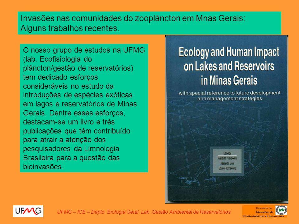 O nosso grupo de estudos na UFMG (lab. Ecofisiologia do plâncton/gestão de reservatórios) tem dedicado esforços consideráveis no estudo da introduções