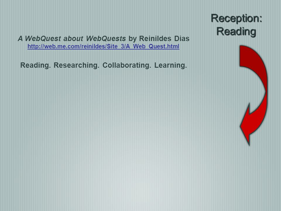 Reception:Reading A WebQuest about WebQuests by Reinildes Dias http://web.me.com/reinildes/Site_3/A_Web_Quest.html Reading. Researching. Collaborating