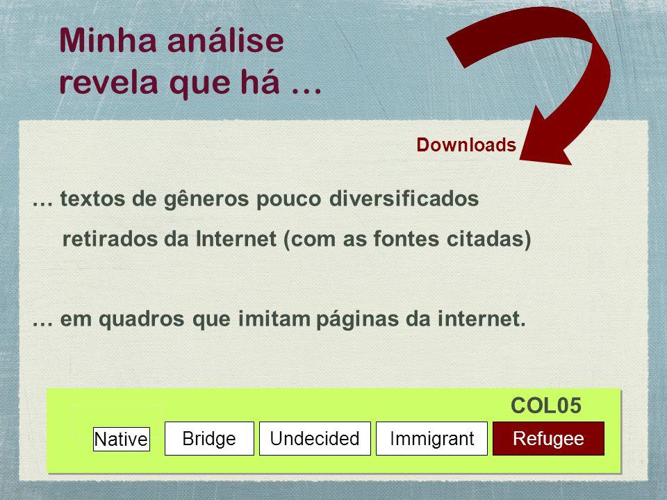 Downloads Minha análise revela que há … Native BridgeUndecidedImmigrantRefugee … textos de gêneros pouco diversificados retirados da Internet (com as fontes citadas) … em quadros que imitam páginas da internet.