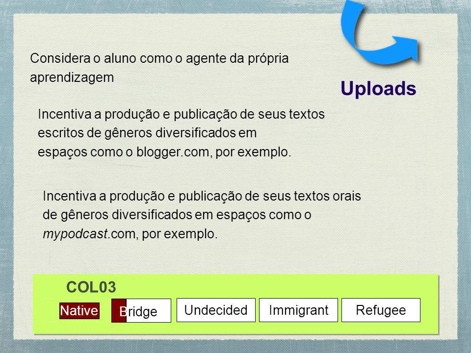Native Bridge UndecidedImmigrantRefugee Uploads COL03 Incentiva a produção e publicação de seus textos escritos de gêneros diversificados em espaços como o blogger.com, por exemplo.