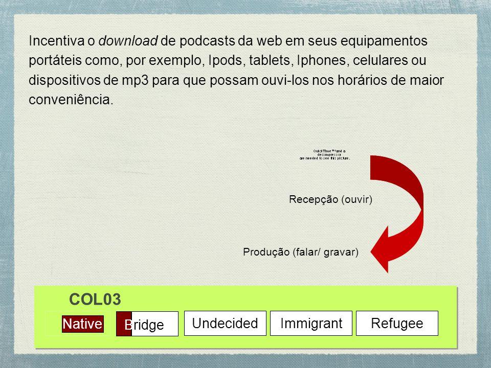 Native Bridge UndecidedImmigrantRefugee COL03 Incentiva o download de podcasts da web em seus equipamentos portáteis como, por exemplo, Ipods, tablets, Iphones, celulares ou dispositivos de mp3 para que possam ouvi-los nos horários de maior conveniência.
