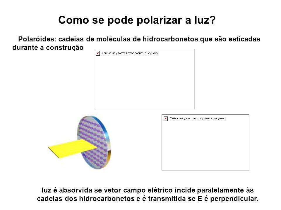 Como se pode polarizar a luz? Polaróides: cadeias de moléculas de hidrocarbonetos que são esticadas durante a construção luz é absorvida se vetor camp