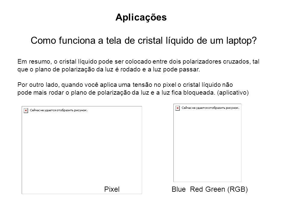 Aplicações Como funciona a tela de cristal líquido de um laptop? Em resumo, o cristal líquido pode ser colocado entre dois polarizadores cruzados, tal