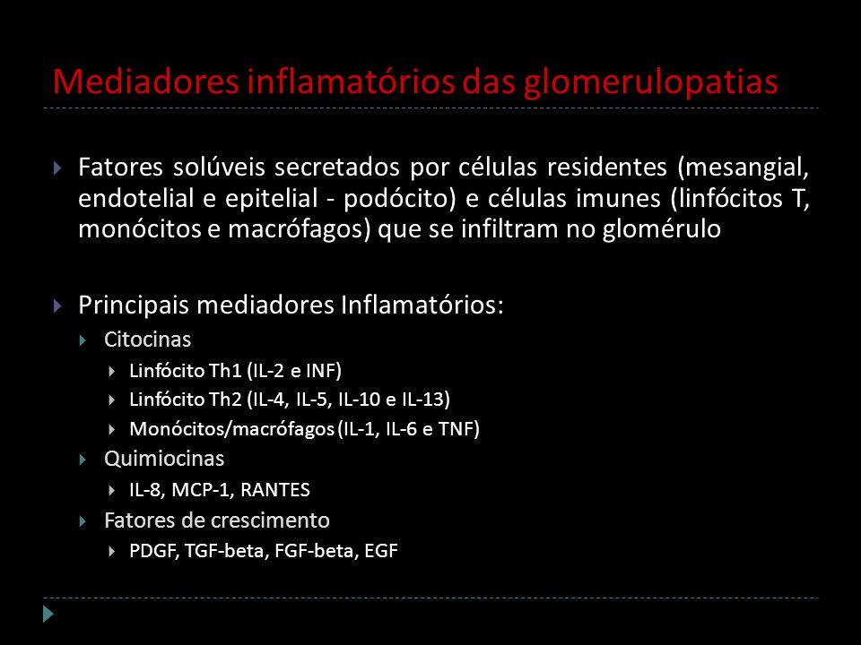 Mediadores inflamatórios das glomerulopatias Fatores solúveis secretados por células residentes (mesangial, endotelial e epitelial - podócito) e célul