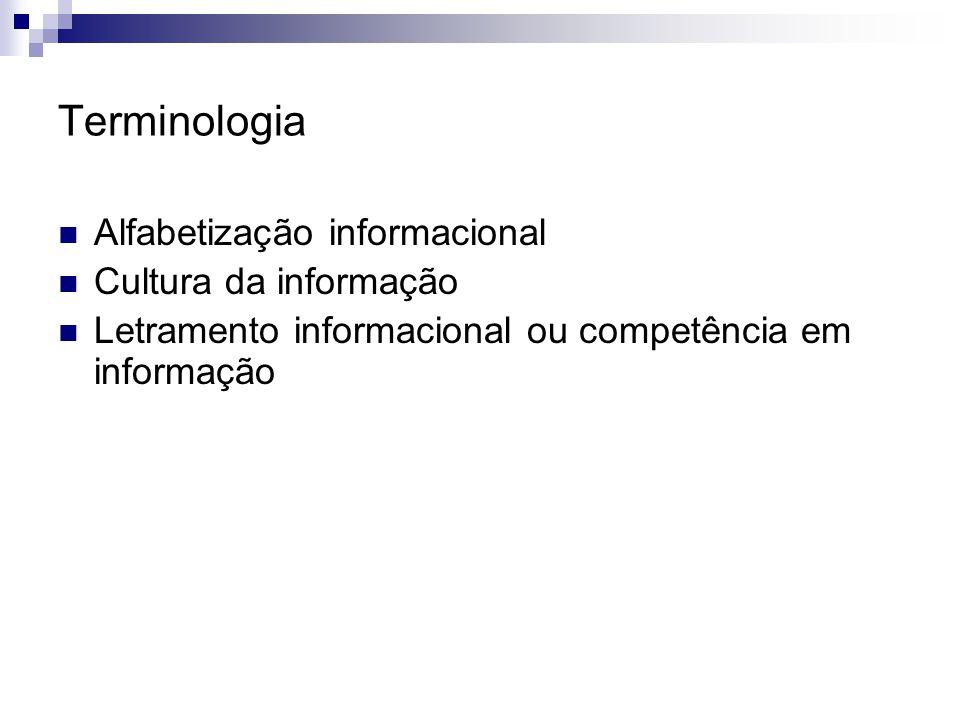 Terminologia Alfabetização informacional Cultura da informação Letramento informacional ou competência em informação