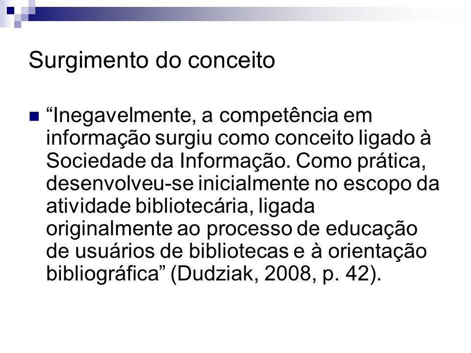 Surgimento do conceito Inegavelmente, a competência em informação surgiu como conceito ligado à Sociedade da Informação. Como prática, desenvolveu-se