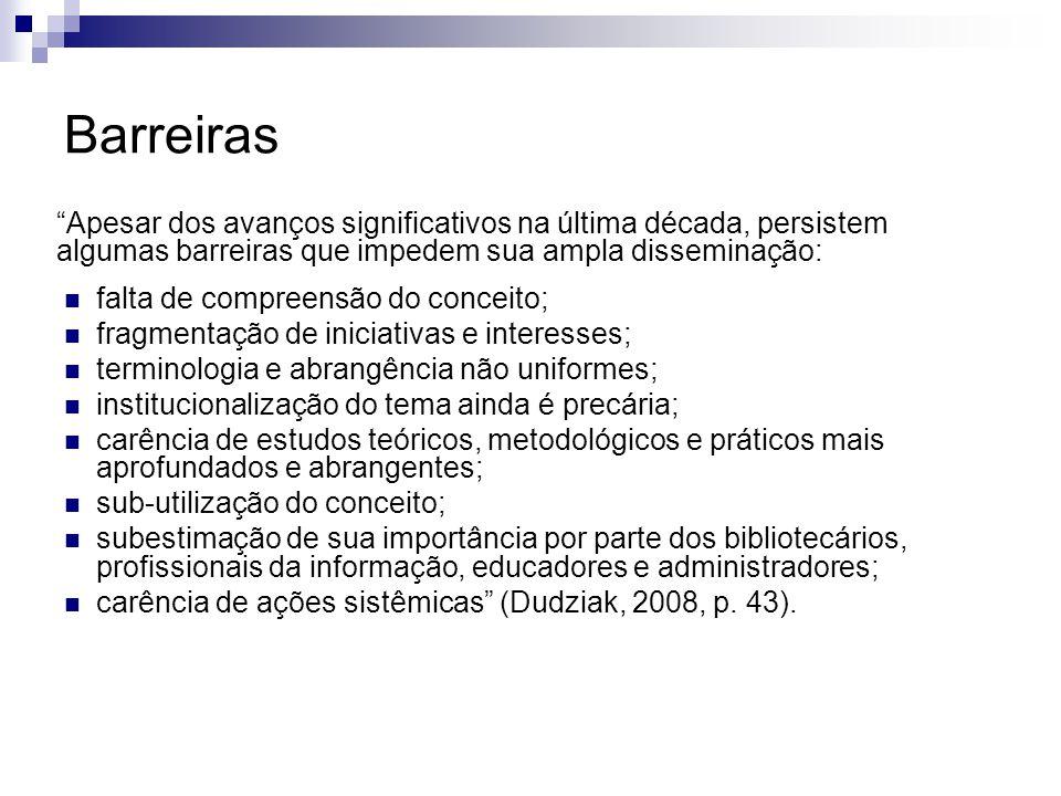 Abrangência A competência informacional abrange as competências para reconhecer as necessidades informacionais e localizar, avaliar, aplicar e criar informação dentro de contextos culturais e sociais (Dudziak, 2008, p.
