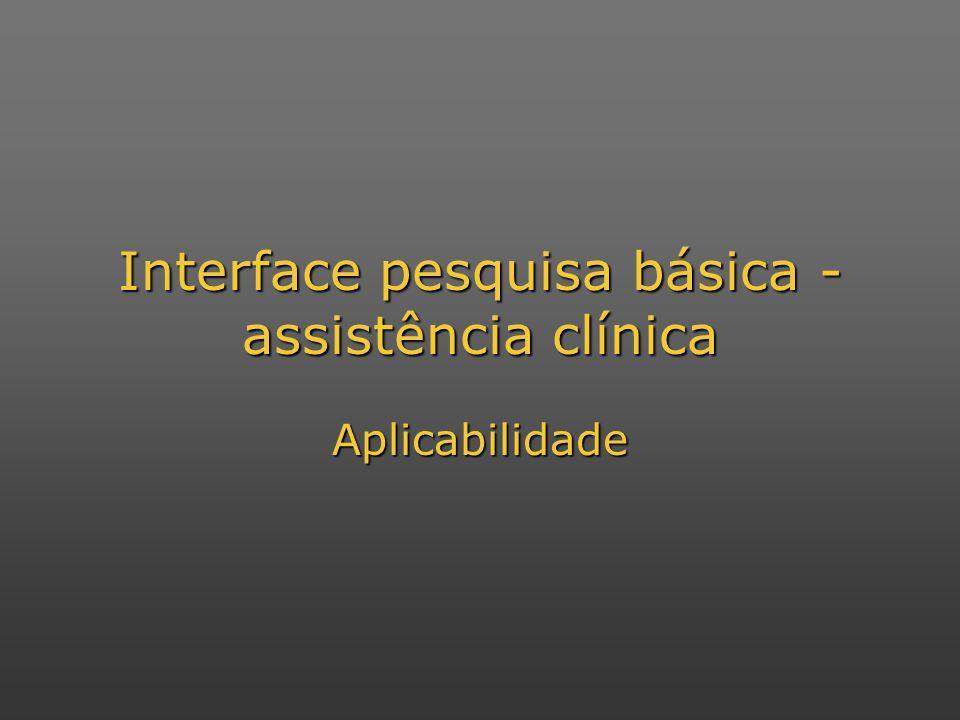 Interface pesquisa básica - assistência clínica Aplicabilidade