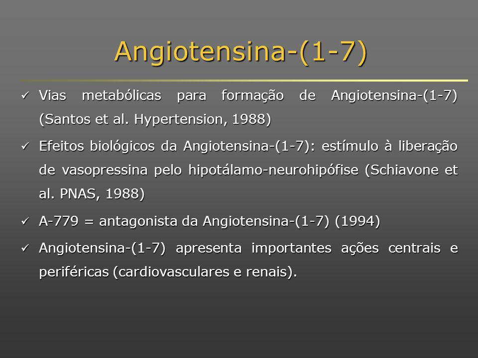 Angiotensina-(1-7) Vias metabólicas para formação de Angiotensina-(1-7) (Santos et al.