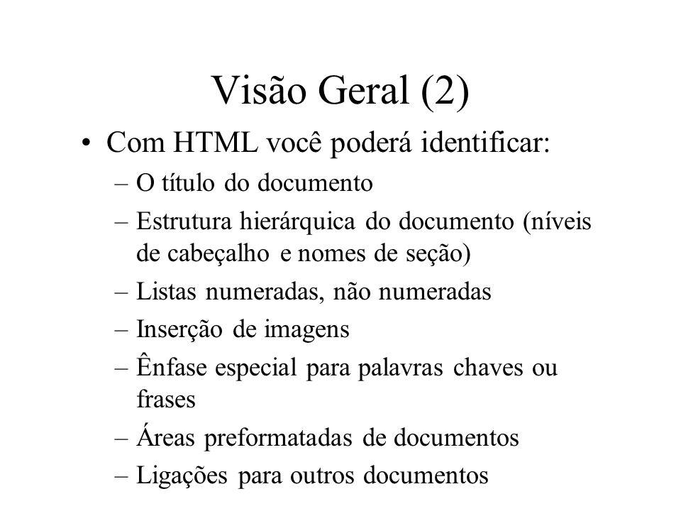 Visão Geral (2) Com HTML você poderá identificar: –O título do documento –Estrutura hierárquica do documento (níveis de cabeçalho e nomes de seção) –L