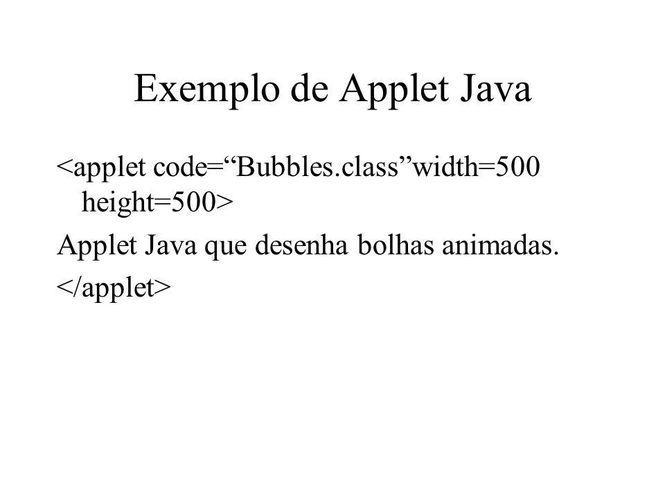Exemplo de Applet Java Applet Java que desenha bolhas animadas.