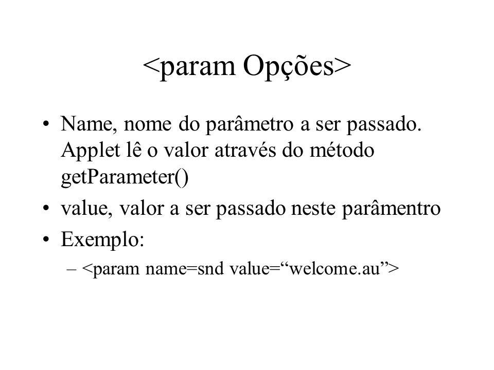 Name, nome do parâmetro a ser passado. Applet lê o valor através do método getParameter() value, valor a ser passado neste parâmentro Exemplo: –