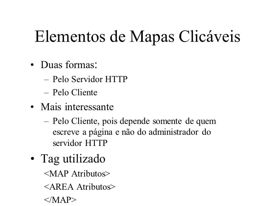 Elementos de Mapas Clicáveis Duas formas : –Pelo Servidor HTTP –Pelo Cliente Mais interessante –Pelo Cliente, pois depende somente de quem escreve a p
