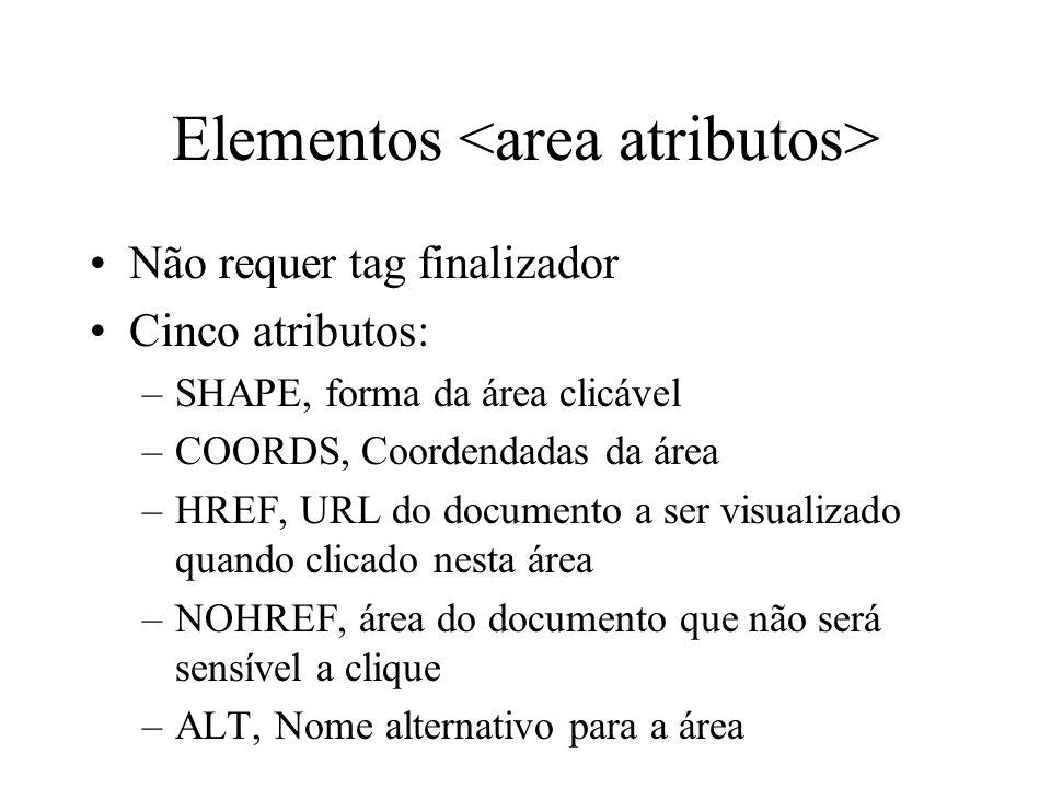 Elementos Não requer tag finalizador Cinco atributos: –SHAPE, forma da área clicável –COORDS, Coordendadas da área –HREF, URL do documento a ser visua