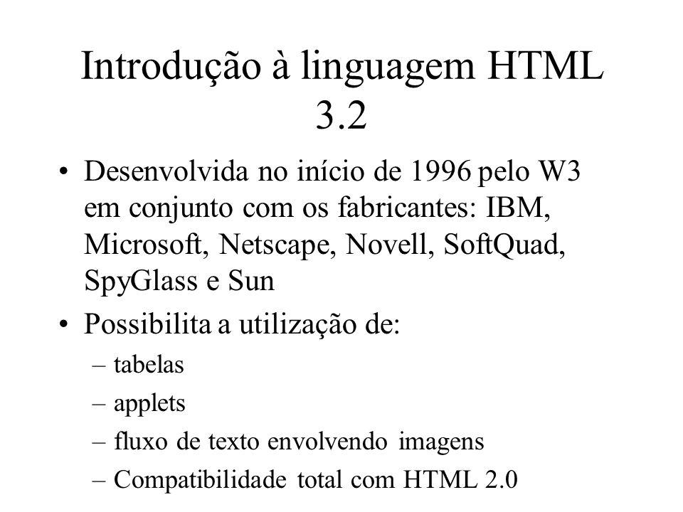 Introdução à linguagem HTML 3.2 Desenvolvida no início de 1996 pelo W3 em conjunto com os fabricantes: IBM, Microsoft, Netscape, Novell, SoftQuad, Spy