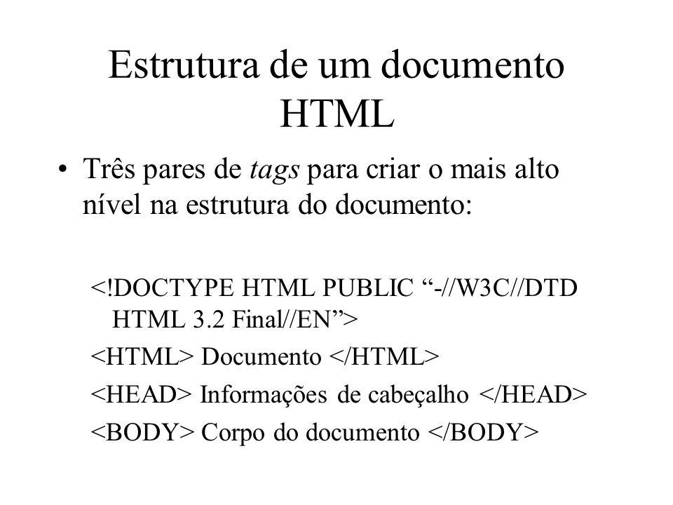 Estrutura de um documento HTML Três pares de tags para criar o mais alto nível na estrutura do documento: Documento Informações de cabeçalho Corpo do