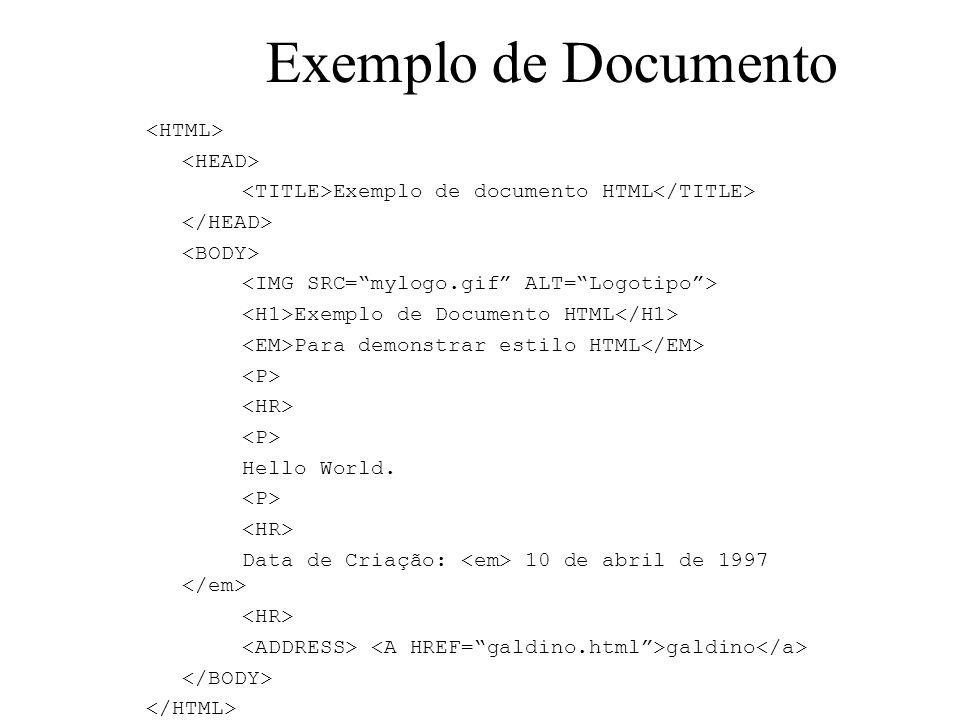 Exemplo de Documento Exemplo de documento HTML Exemplo de Documento HTML Para demonstrar estilo HTML Hello World. Data de Criação: 10 de abril de 1997