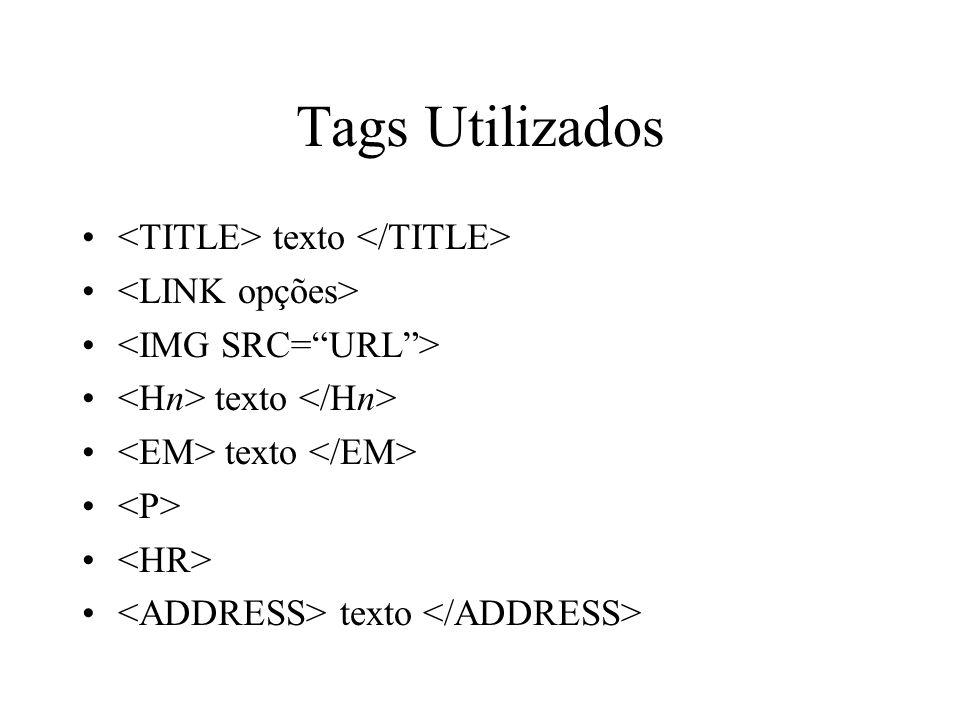 Tags Utilizados texto texto texto