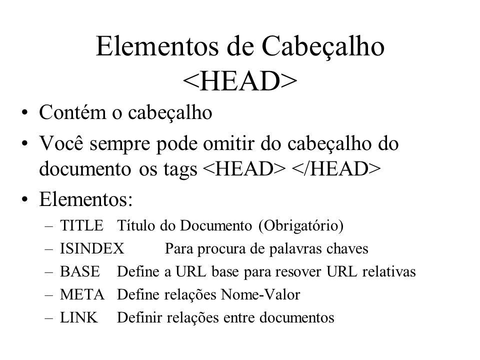 Elementos de Cabeçalho Contém o cabeçalho Você sempre pode omitir do cabeçalho do documento os tags Elementos: –TITLETítulo do Documento (Obrigatório)