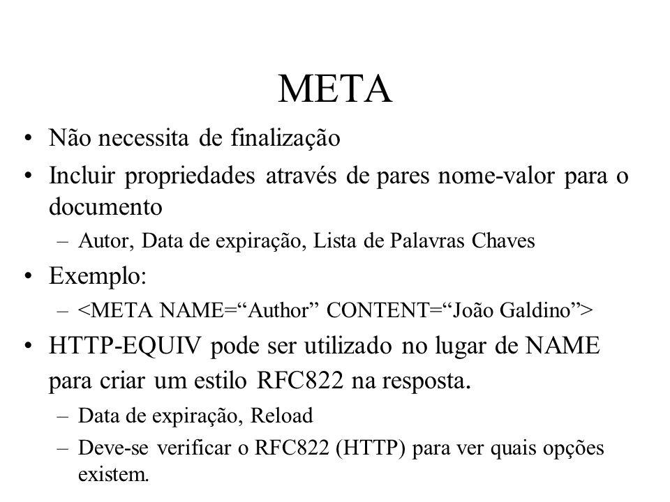 META Não necessita de finalização Incluir propriedades através de pares nome-valor para o documento –Autor, Data de expiração, Lista de Palavras Chave