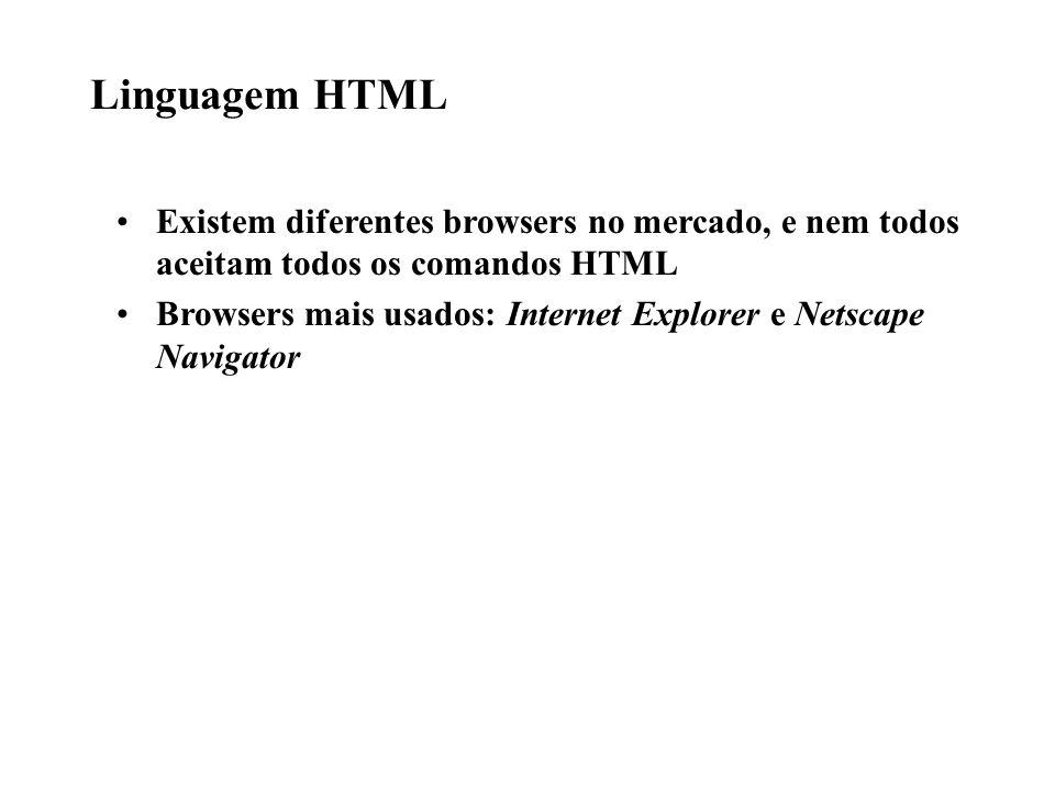 Linguagem HTML Existem diferentes browsers no mercado, e nem todos aceitam todos os comandos HTML Browsers mais usados: Internet Explorer e Netscape N