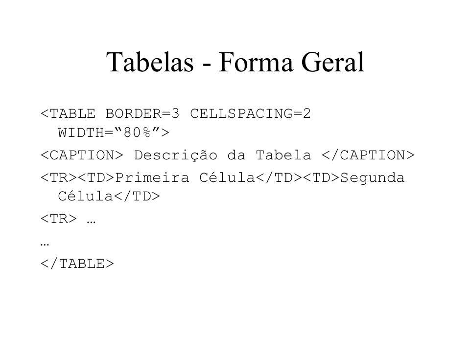 Tabelas - Forma Geral Descrição da Tabela Primeira Célula Segunda Célula …