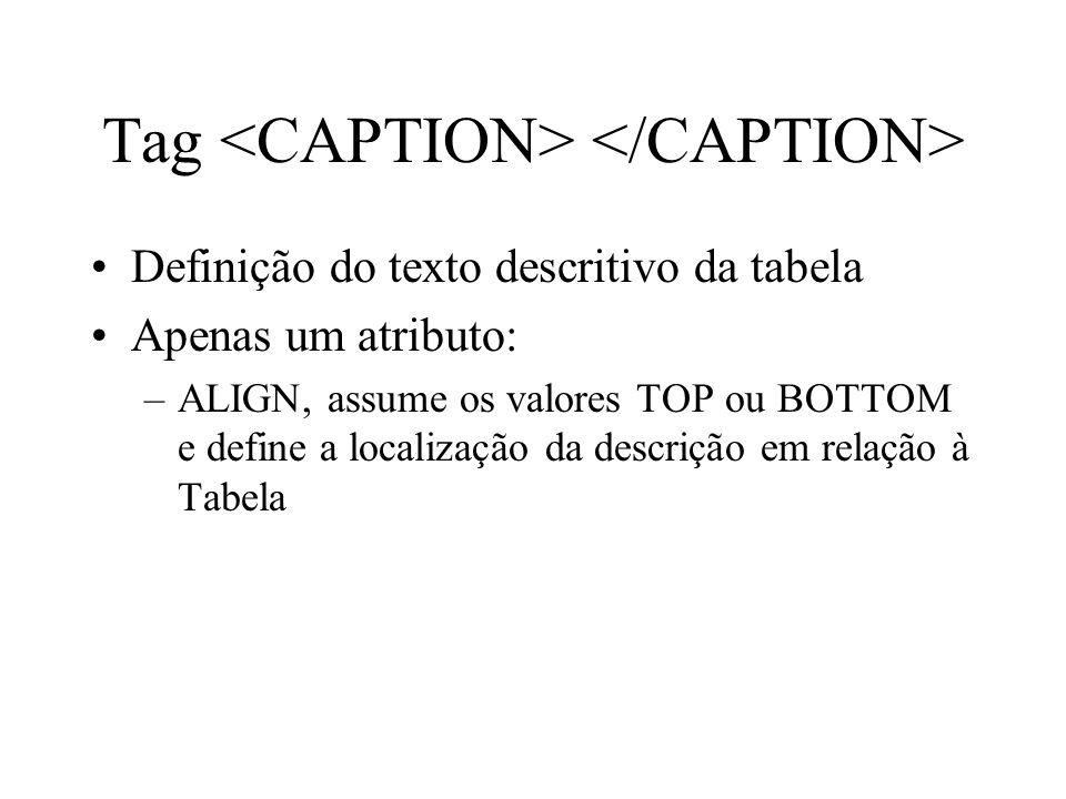Tag Definição do texto descritivo da tabela Apenas um atributo: –ALIGN, assume os valores TOP ou BOTTOM e define a localização da descrição em relação