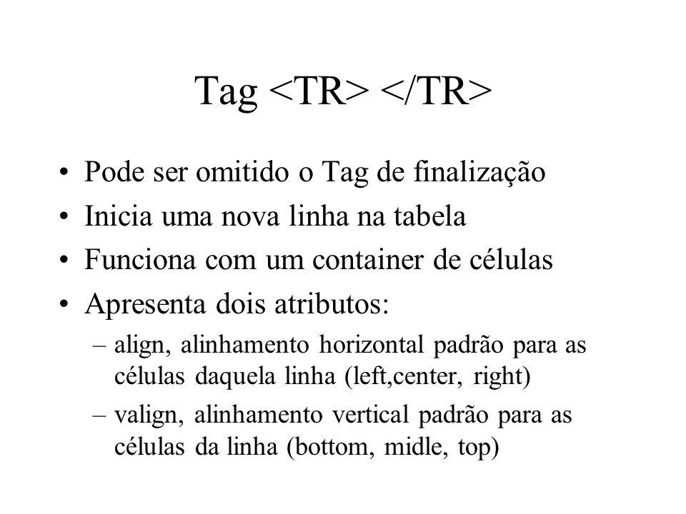 Tag Pode ser omitido o Tag de finalização Inicia uma nova linha na tabela Funciona com um container de células Apresenta dois atributos: –align, alinh