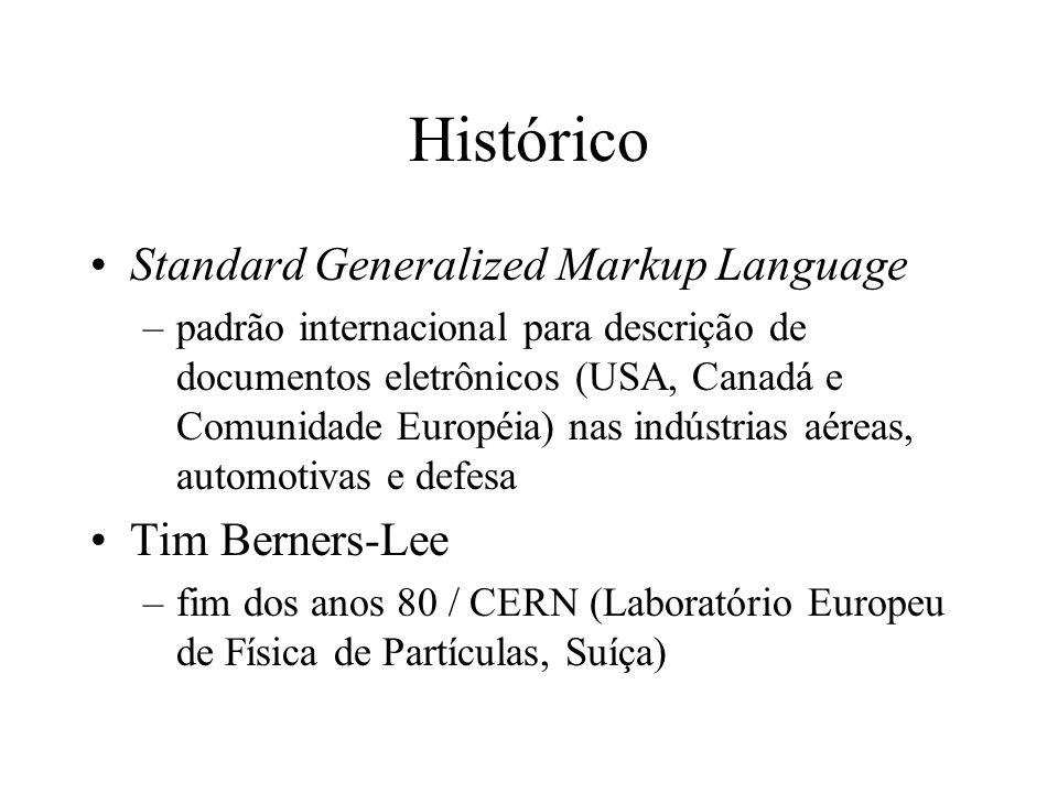 Histórico Standard Generalized Markup Language –padrão internacional para descrição de documentos eletrônicos (USA, Canadá e Comunidade Européia) nas
