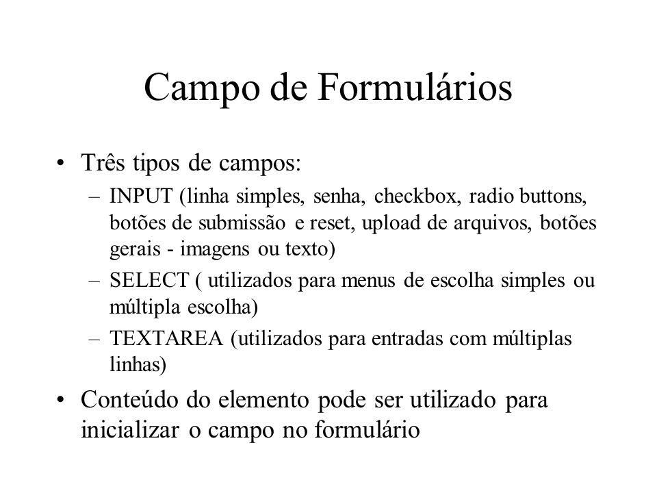 Campo de Formulários Três tipos de campos: –INPUT (linha simples, senha, checkbox, radio buttons, botões de submissão e reset, upload de arquivos, bot