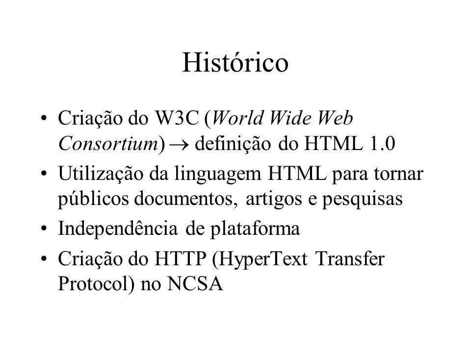 Histórico Criação do W3C (World Wide Web Consortium) definição do HTML 1.0 Utilização da linguagem HTML para tornar públicos documentos, artigos e pes