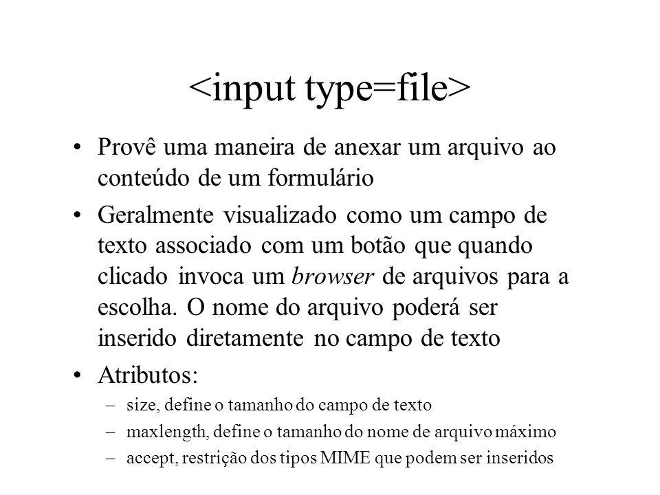 Provê uma maneira de anexar um arquivo ao conteúdo de um formulário Geralmente visualizado como um campo de texto associado com um botão que quando cl