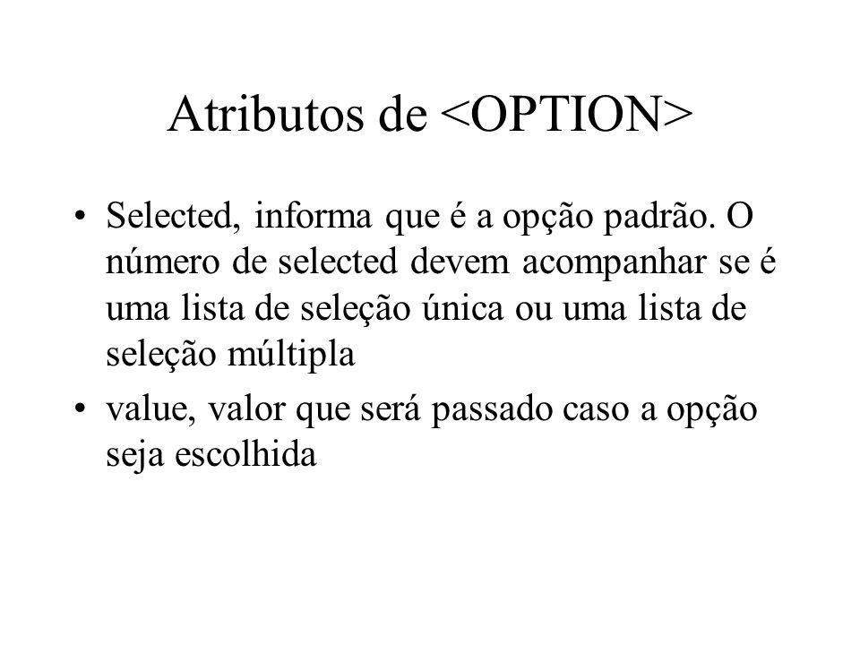 Atributos de Selected, informa que é a opção padrão. O número de selected devem acompanhar se é uma lista de seleção única ou uma lista de seleção múl