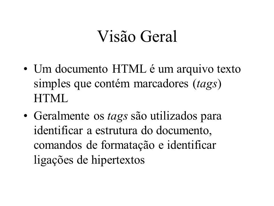 Visão Geral Um documento HTML é um arquivo texto simples que contém marcadores (tags) HTML Geralmente os tags são utilizados para identificar a estrut