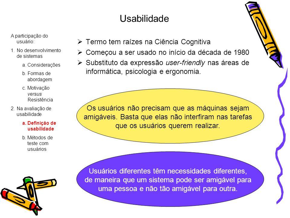 Usabilidade Termo tem raízes na Ciência Cognitiva Começou a ser usado no início da década de 1980 Substituto da expressão user-friendly nas áreas de i