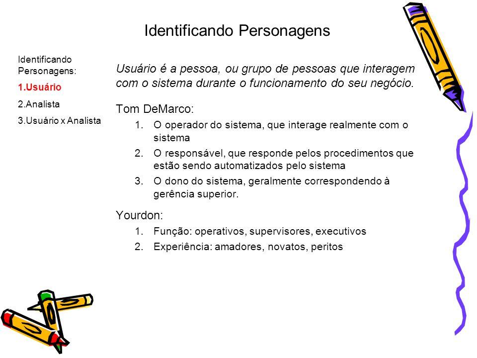 Identificando Personagens Usuário é a pessoa, ou grupo de pessoas que interagem com o sistema durante o funcionamento do seu negócio. Tom DeMarco: 1.O