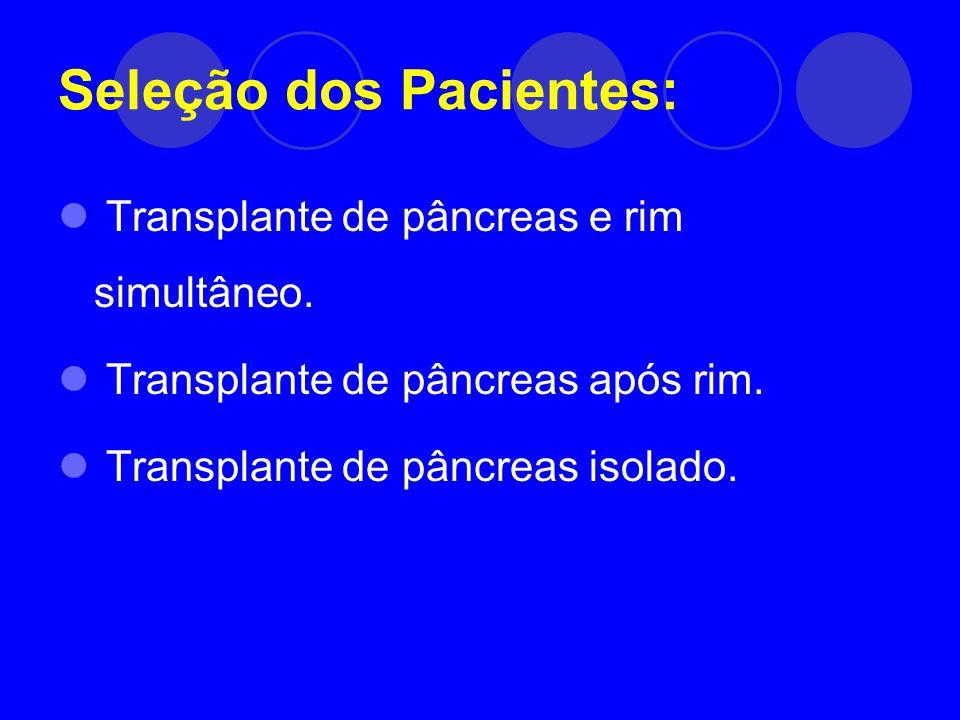 Seleção dos Pacientes: Transplante de pâncreas e rim simultâneo. Transplante de pâncreas após rim. Transplante de pâncreas isolado.