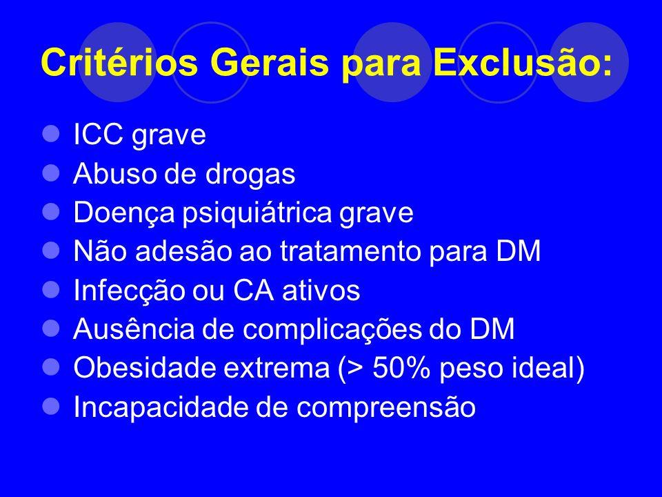 Critérios Gerais para Exclusão: ICC grave Abuso de drogas Doença psiquiátrica grave Não adesão ao tratamento para DM Infecção ou CA ativos Ausência de