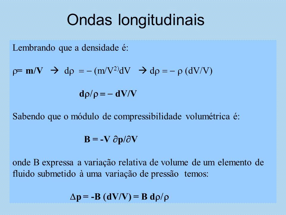 Ondas longitudinais Lembrando que a densidade é: = m/V d m/V 2) dV d dV/V) d dV/V Sabendo que o módulo de compressibilidade volumétrica é: B = -V p/ V onde B expressa a variação relativa de volume de um elemento de fluido submetido à uma variação de pressão temos: p = -B dV/V) = B d