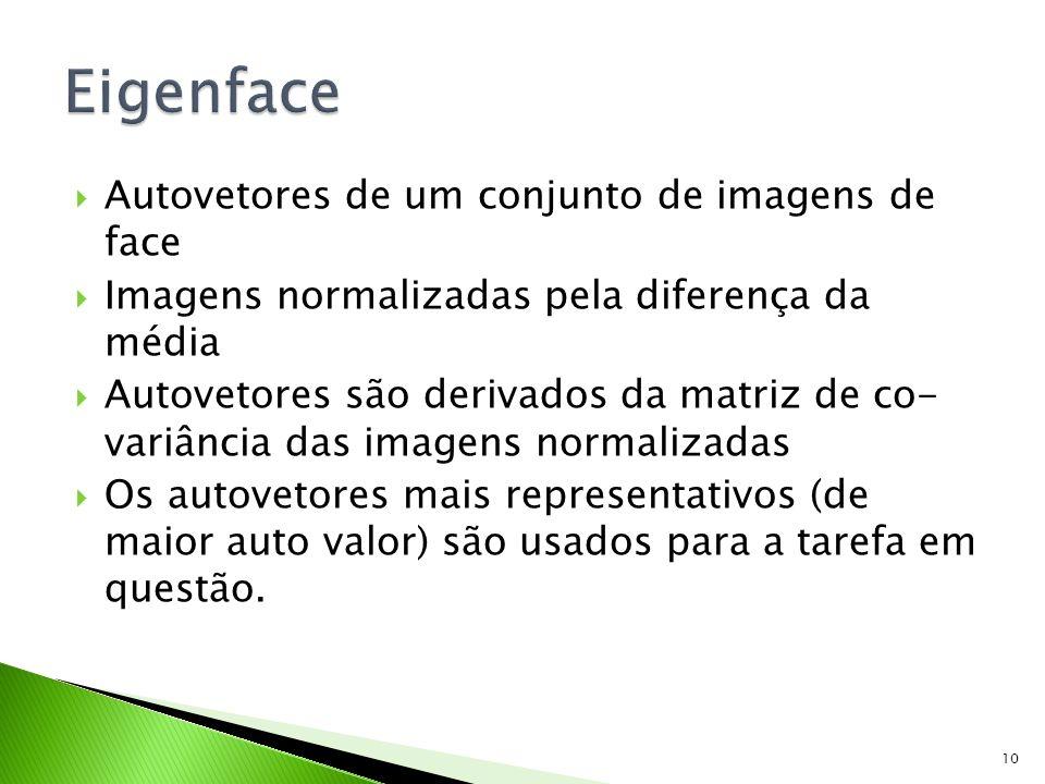 Autovetores de um conjunto de imagens de face Imagens normalizadas pela diferença da média Autovetores são derivados da matriz de co- variância das im