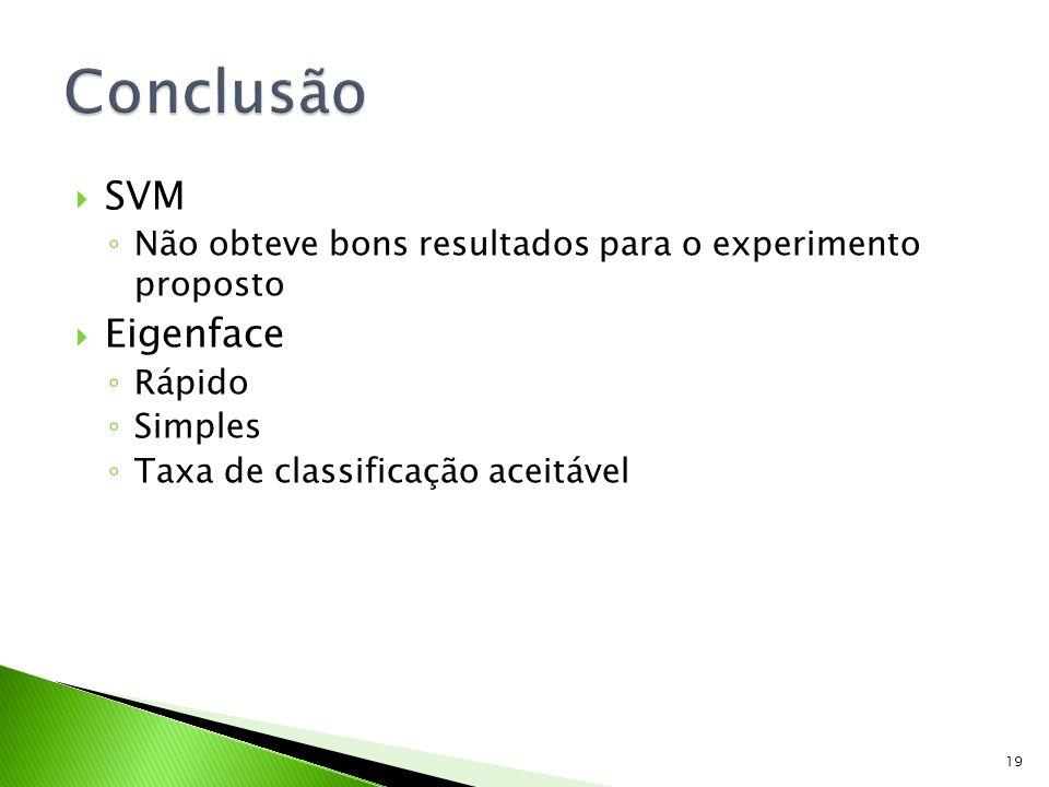 SVM Não obteve bons resultados para o experimento proposto Eigenface Rápido Simples Taxa de classificação aceitável 19