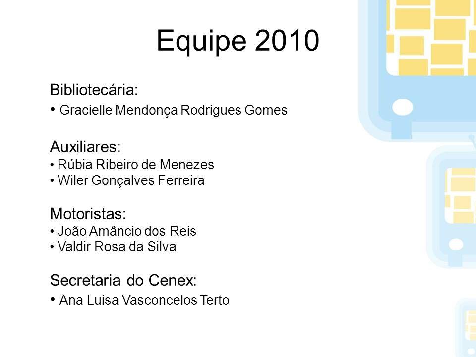 Equipe 2010 Bibliotecária: Gracielle Mendonça Rodrigues Gomes Auxiliares: Rúbia Ribeiro de Menezes Wiler Gonçalves Ferreira Motoristas: João Amâncio d