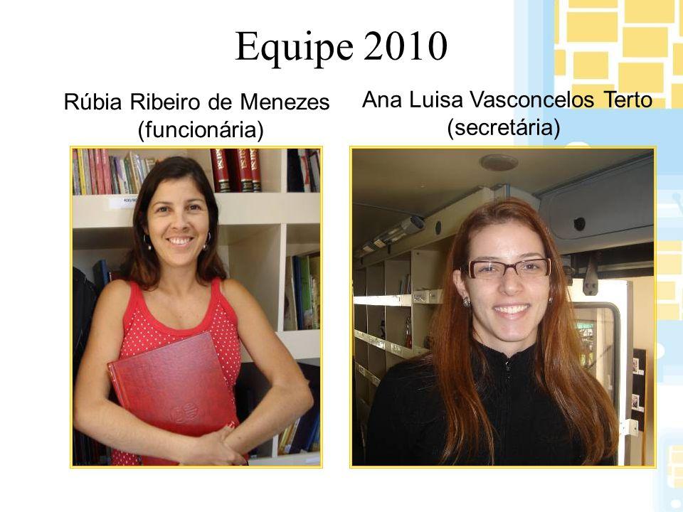 Equipe 2010 Rúbia Ribeiro de Menezes (funcionária) Ana Luisa Vasconcelos Terto (secretária)